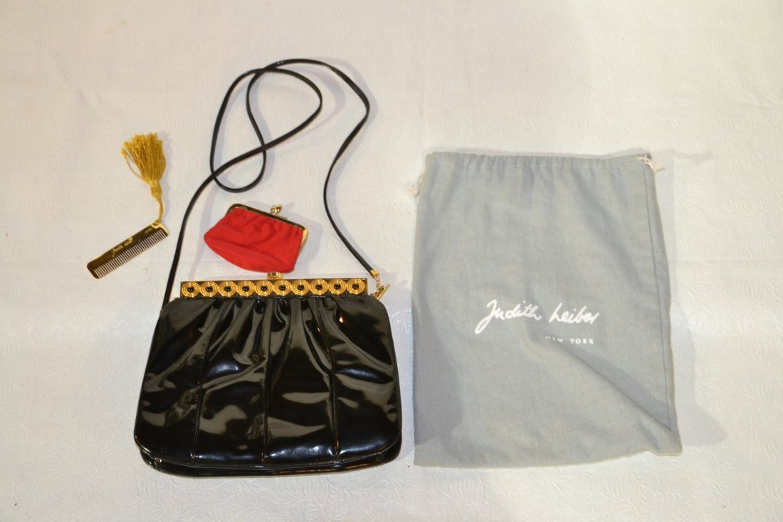 SIGNED JUDITH LEIBER PATENT LEATHER CLUTCH