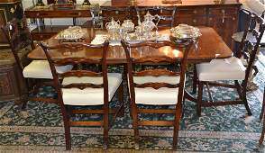 BANDED DOUBLE PEDESTAL DINING ROOM TABLE WITH