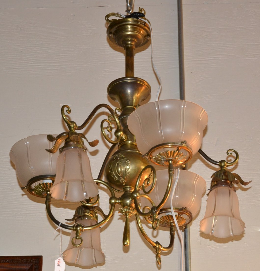 BRASS GAS FIXTURE WITH (3) ARMS UP AND (3) ARMS