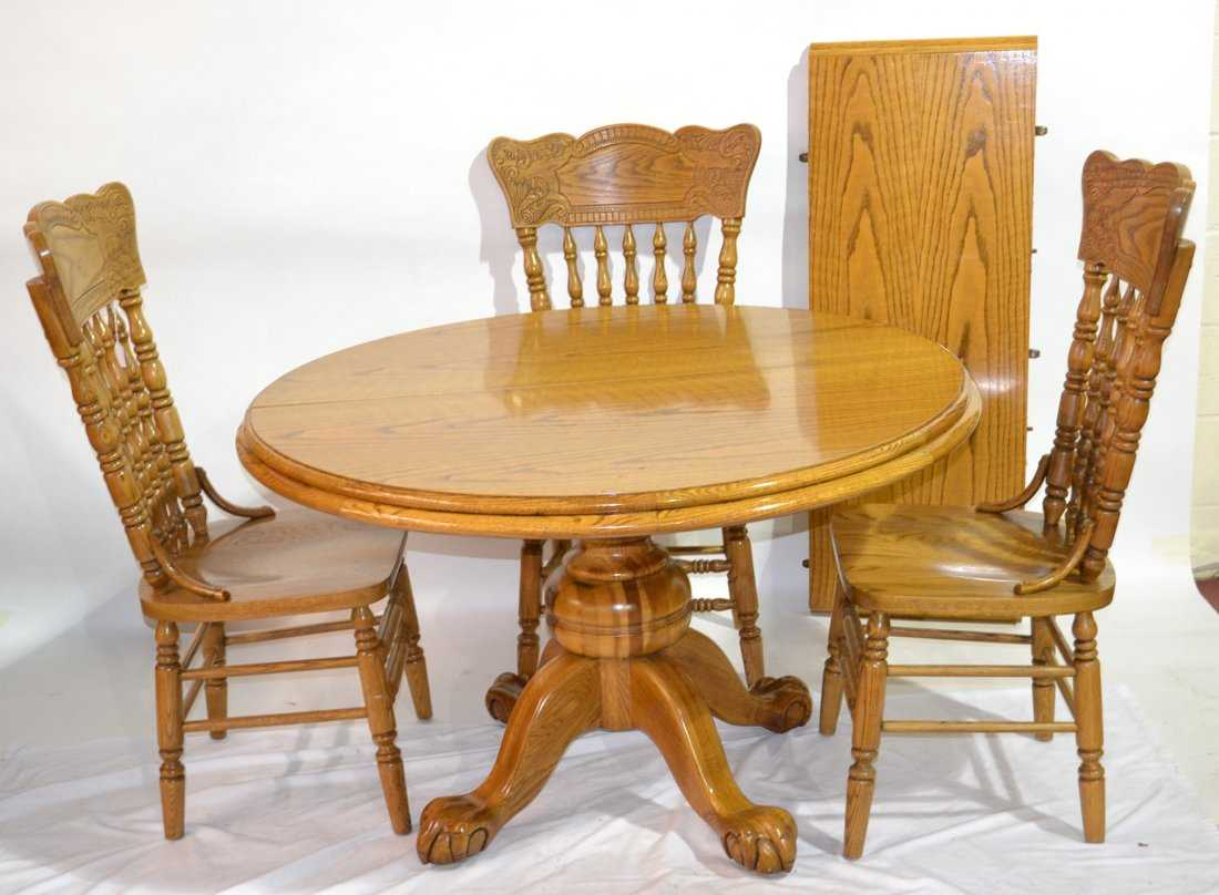 Round Oak Claw Foot Pedestal Table With 4
