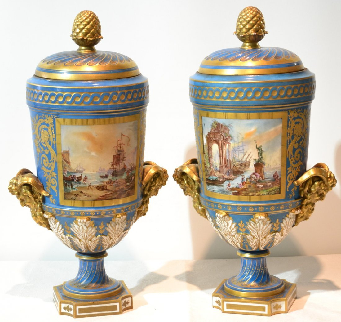 (Pr) LARGE19thC HAND PAINTED SEVRES COVERED URNS