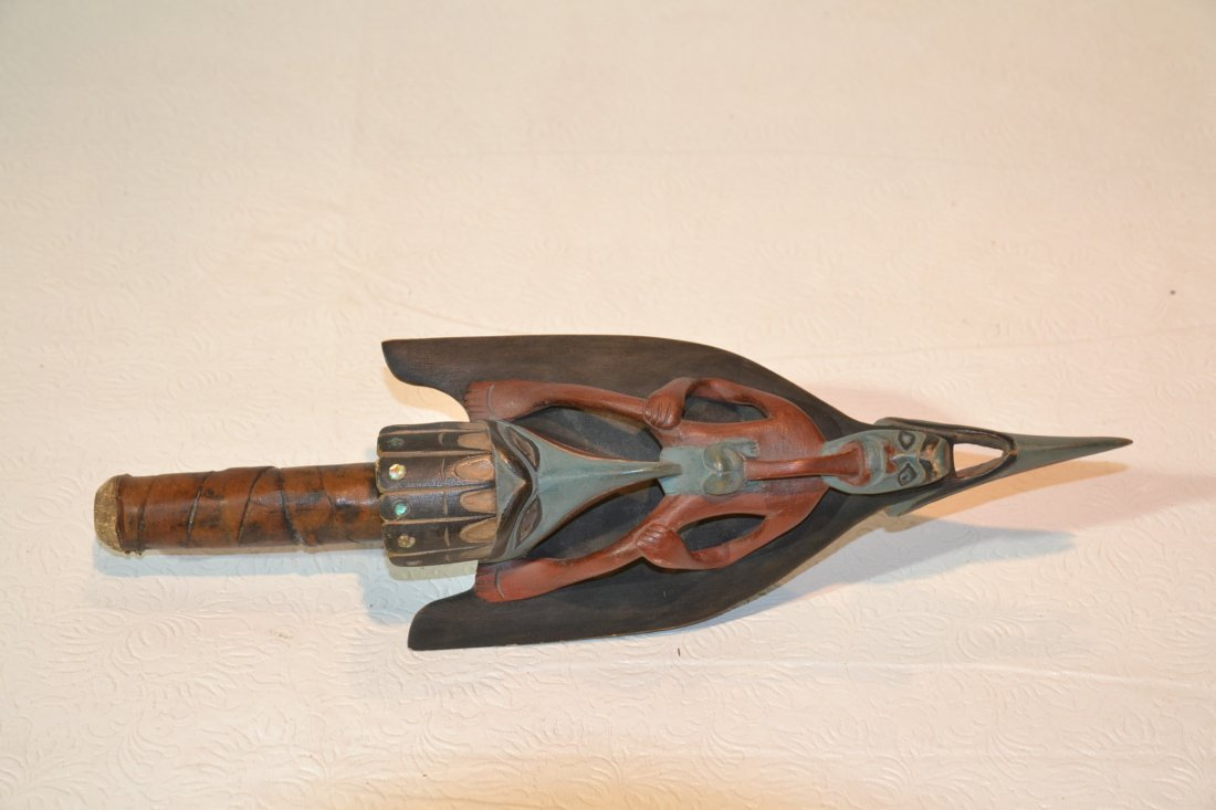 """CARVED FIGURAL AMERICAN INDIAN RATTLE - 13 1/2"""""""