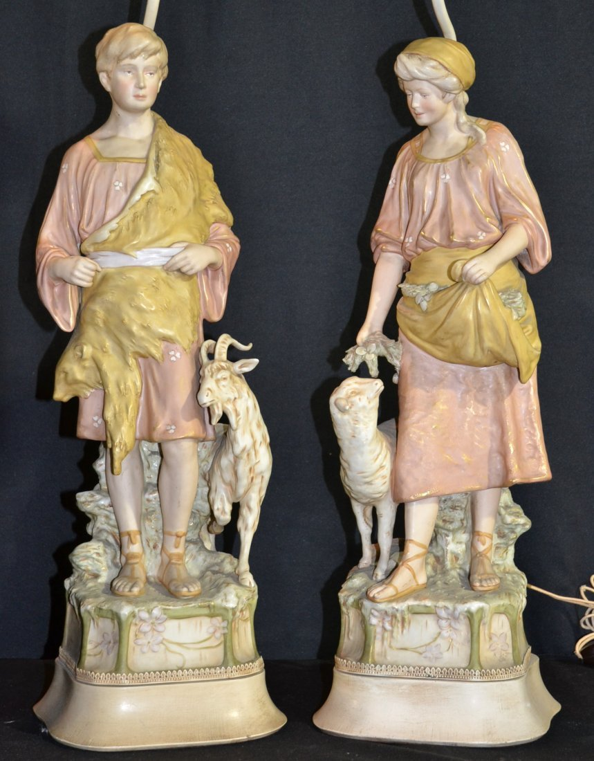 (Pr) ROYAL DUX FIGURAL LAMPS OF MAN WITH GOAT &
