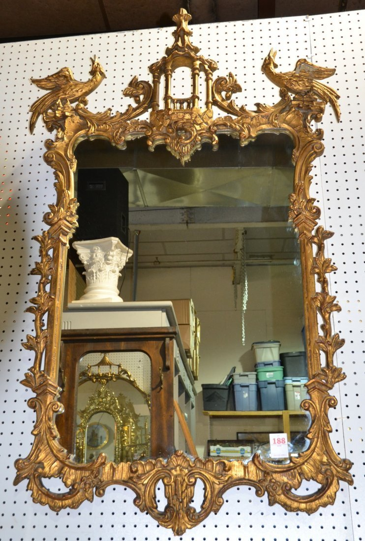 GILT CHINESE CHIPPENDALE MIRROR WITH PAGODA &