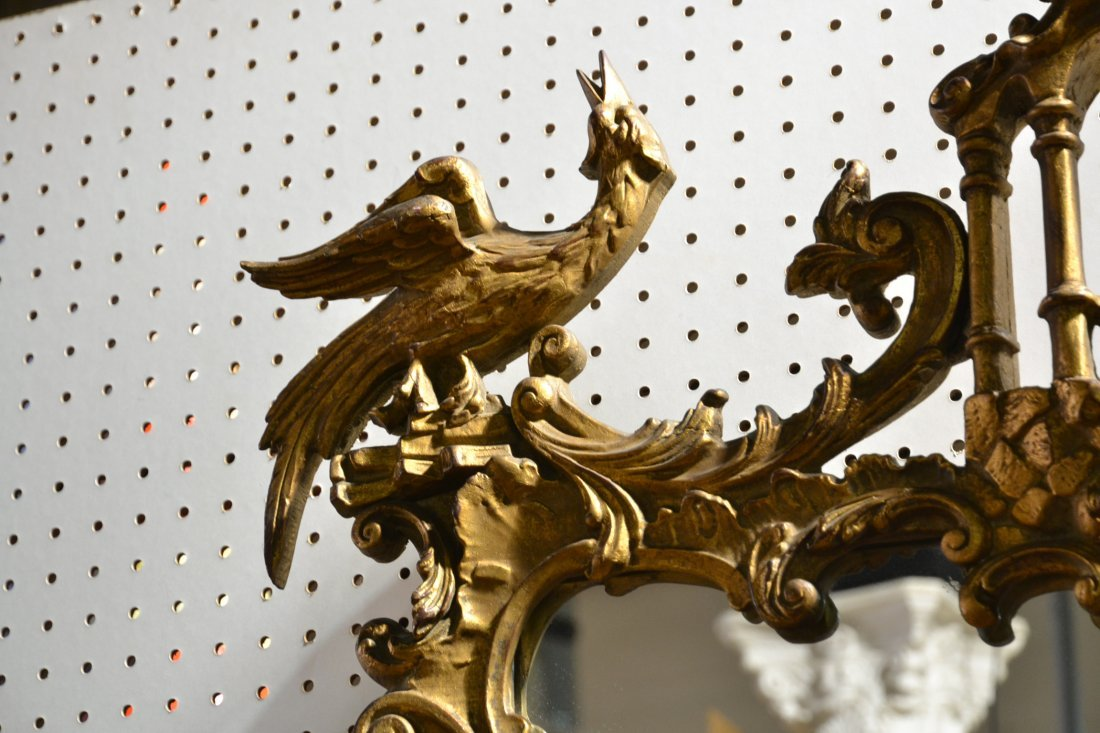 GILT CHINESE CHIPPENDALE MIRROR WITH PAGODA & - 4