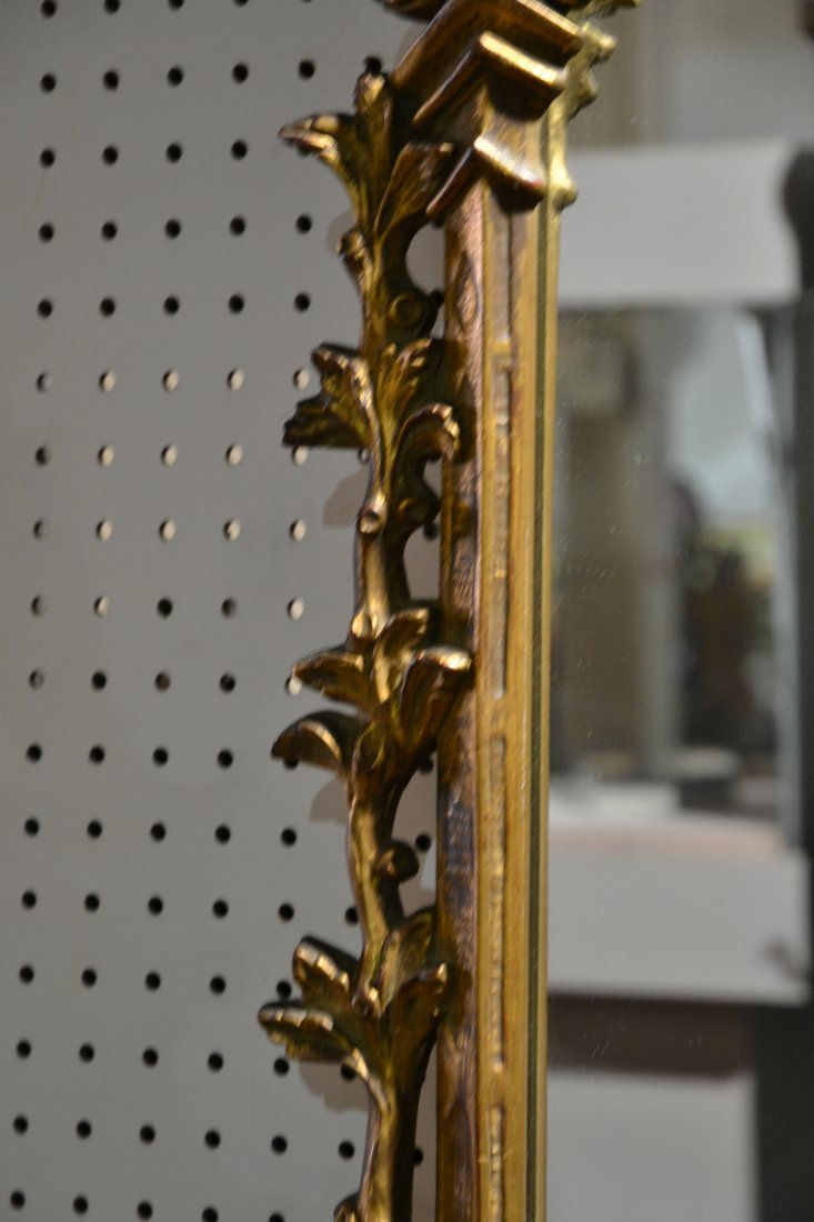 GILT CHINESE CHIPPENDALE MIRROR WITH PAGODA & - 7