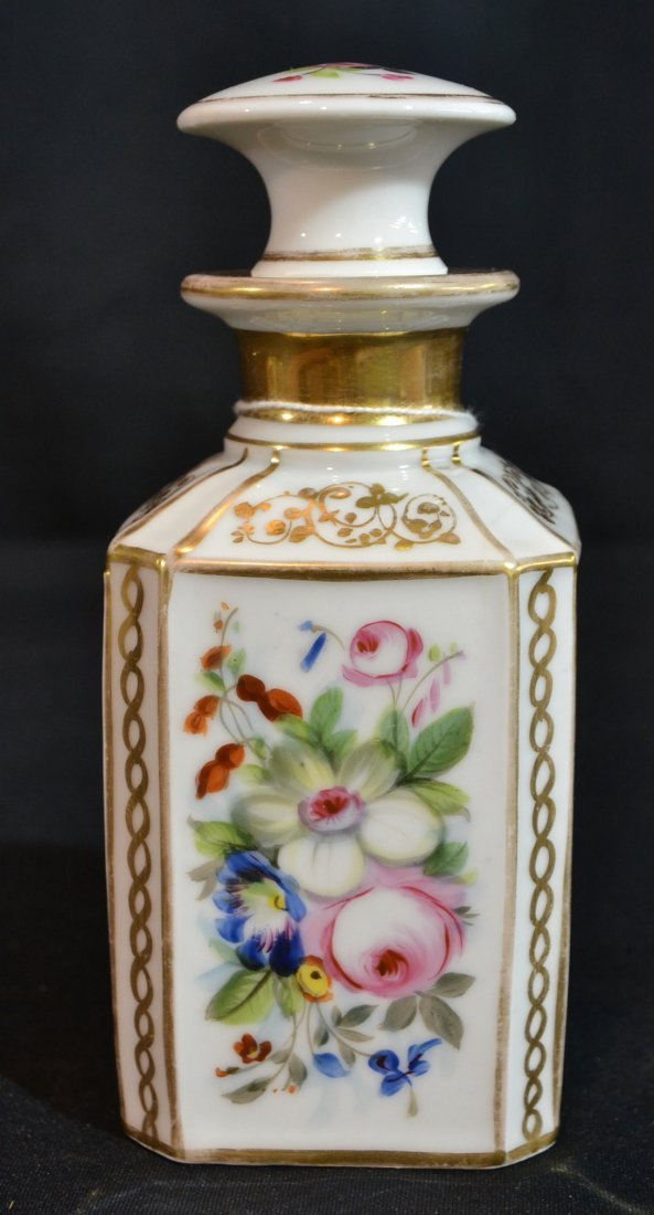 FLORAL & GILT HAND PAINTED OLD PARIS PERFUME