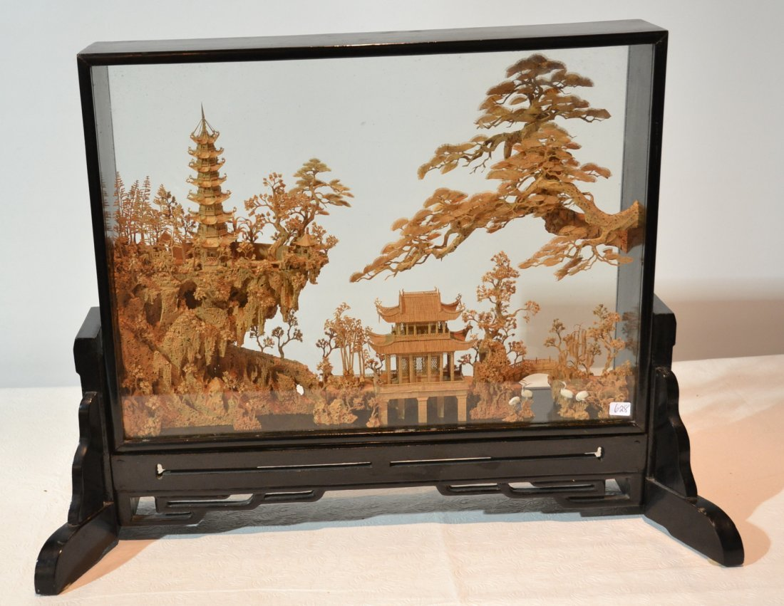 CARVED CHINESE TREES & TEMPLE SET IN SHADOW BOX