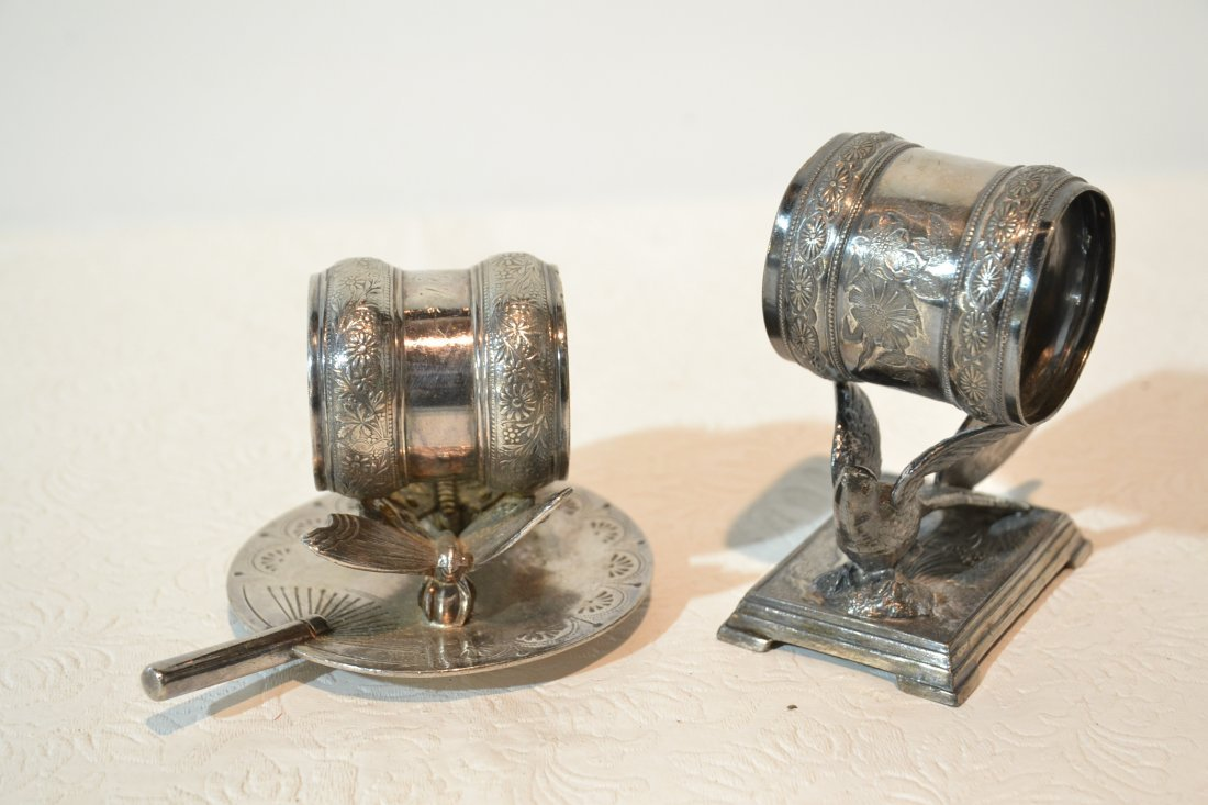 (2) SILVER PLATE NAPKIN RINGS INC- DERBY WITH