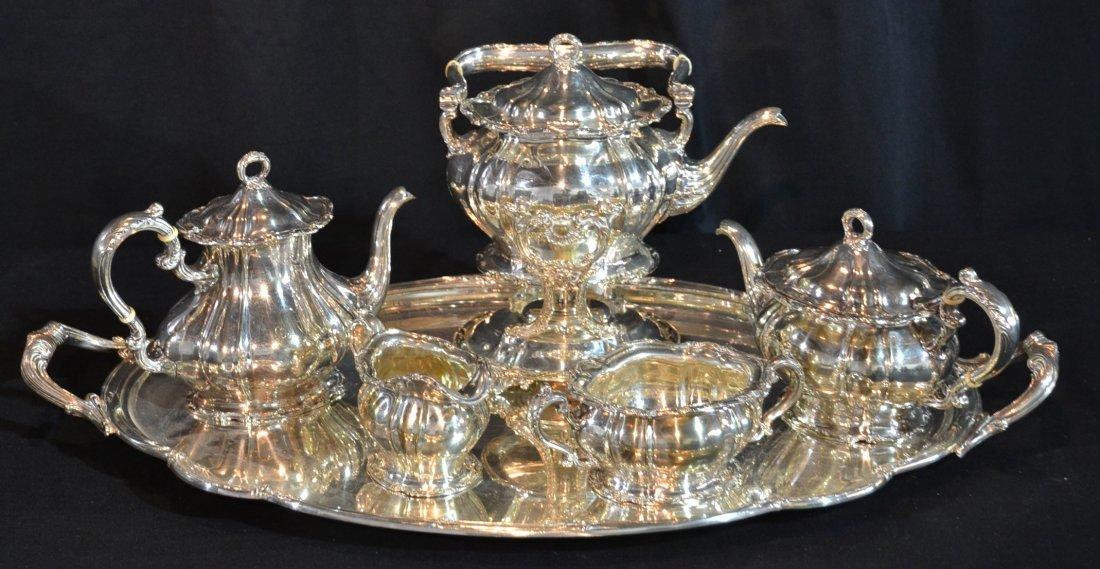 (7)pc GORHAM SILVER PLATE TEA SET CONSISTING OF