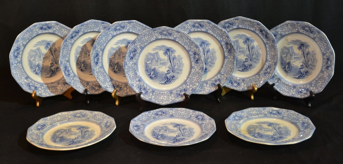(10) BLUE & WHITE IRONSTONE DINNER PLATES