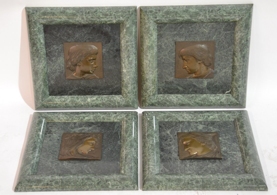 (4) BRONZE PLACQUES OF HAMLET CHARACTERS MOUNTED
