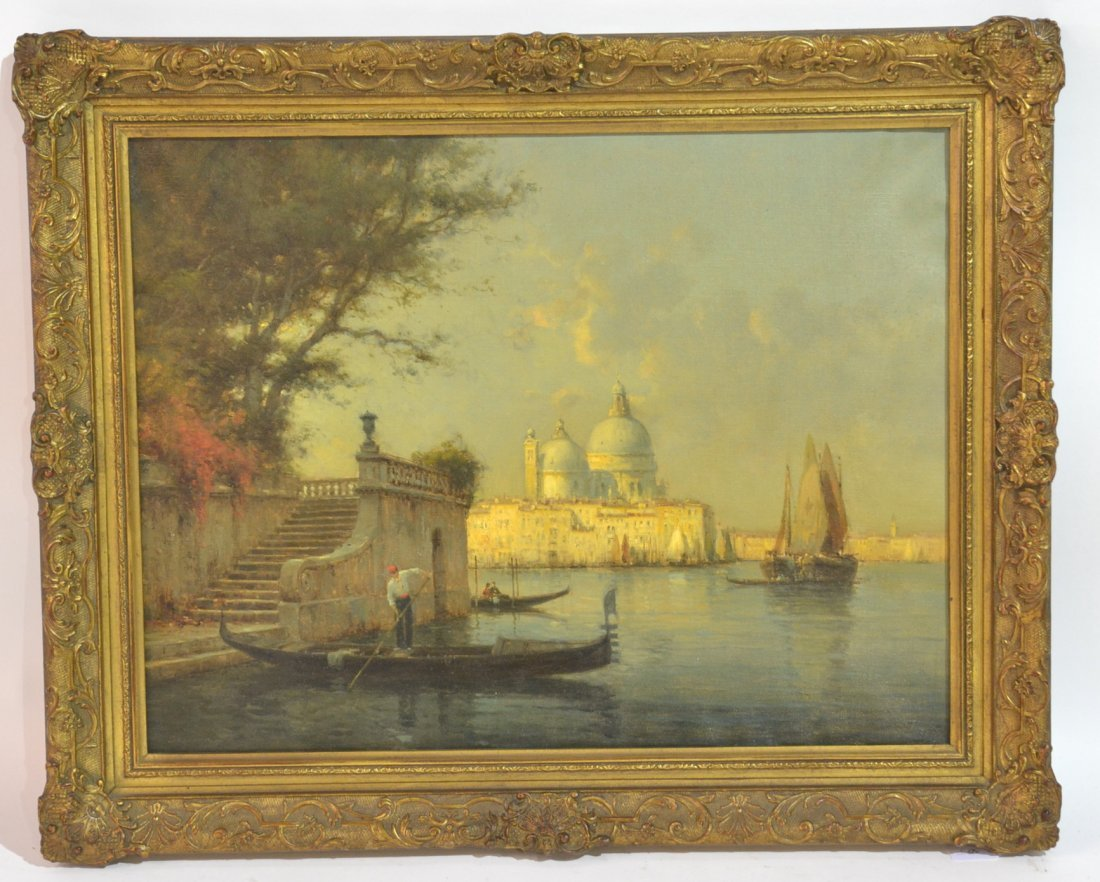 OIL ON CANVAS FIGURE ON GONDOLA IN VENICE CANAL