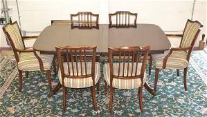 BANDED MAHOGANY DINING ROOM TABLE WITH (3) LEAVES