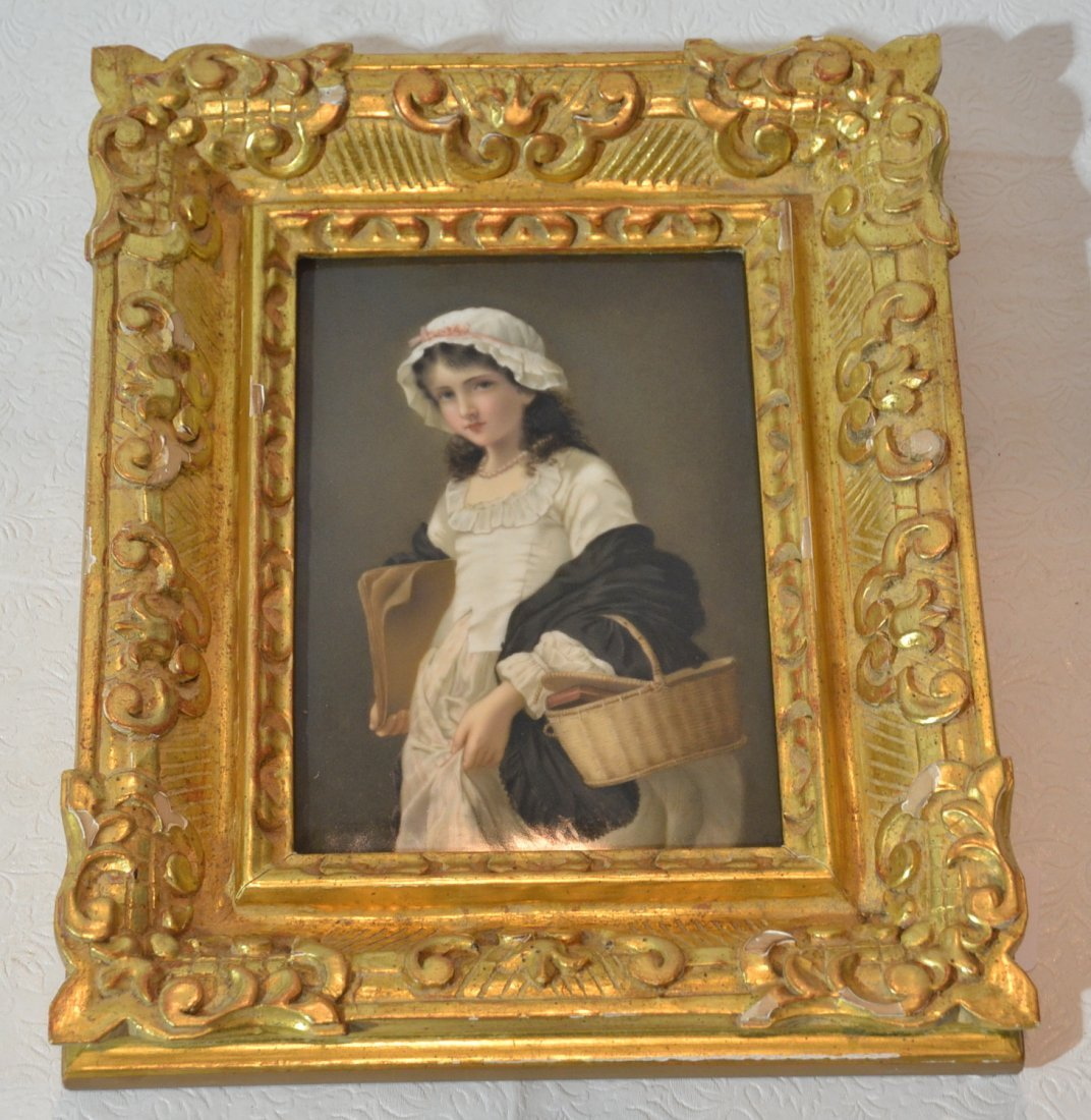 HAND PAINTED KPM PORCELAIN PLAQUE OF YOUNG GIRL