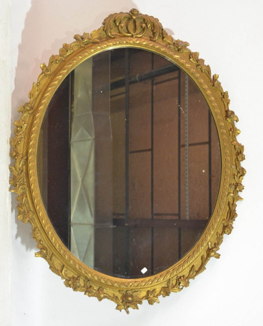 "OVAL ITALIAN CARVED GILTWOOD MIRROR - 32"" x 44"""