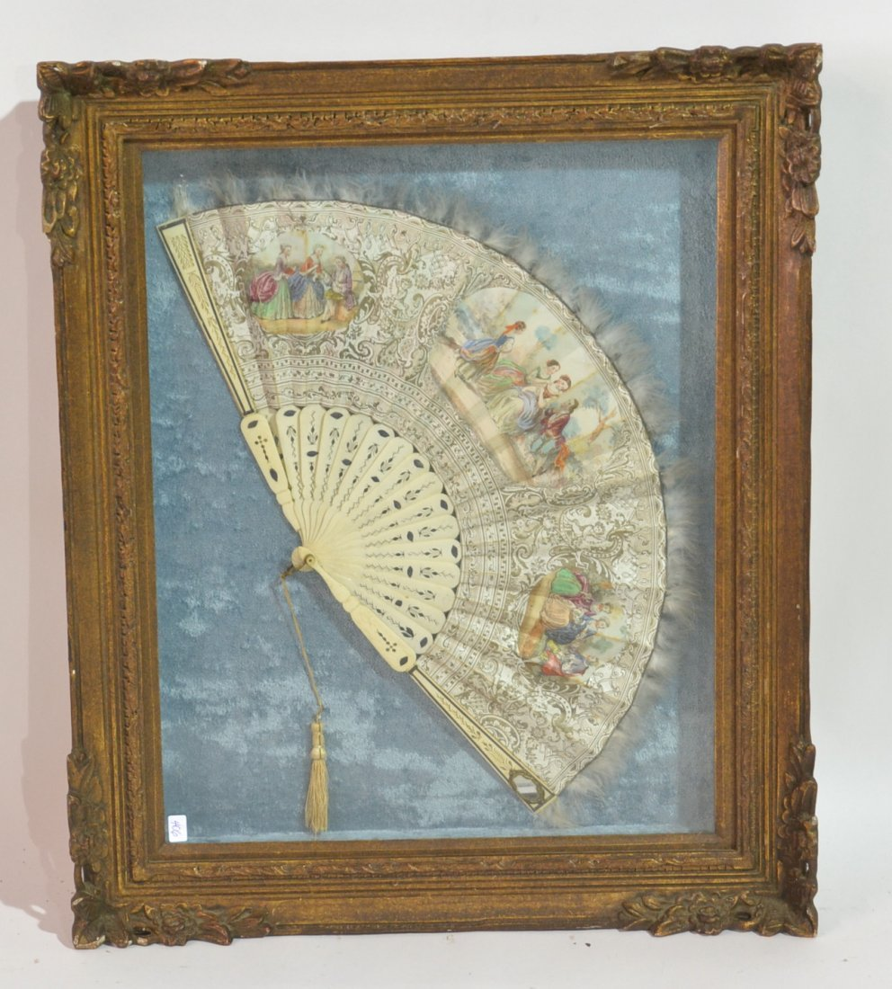 HAND PAINTED ROMANTIC SCENE FAN WITH IVORY