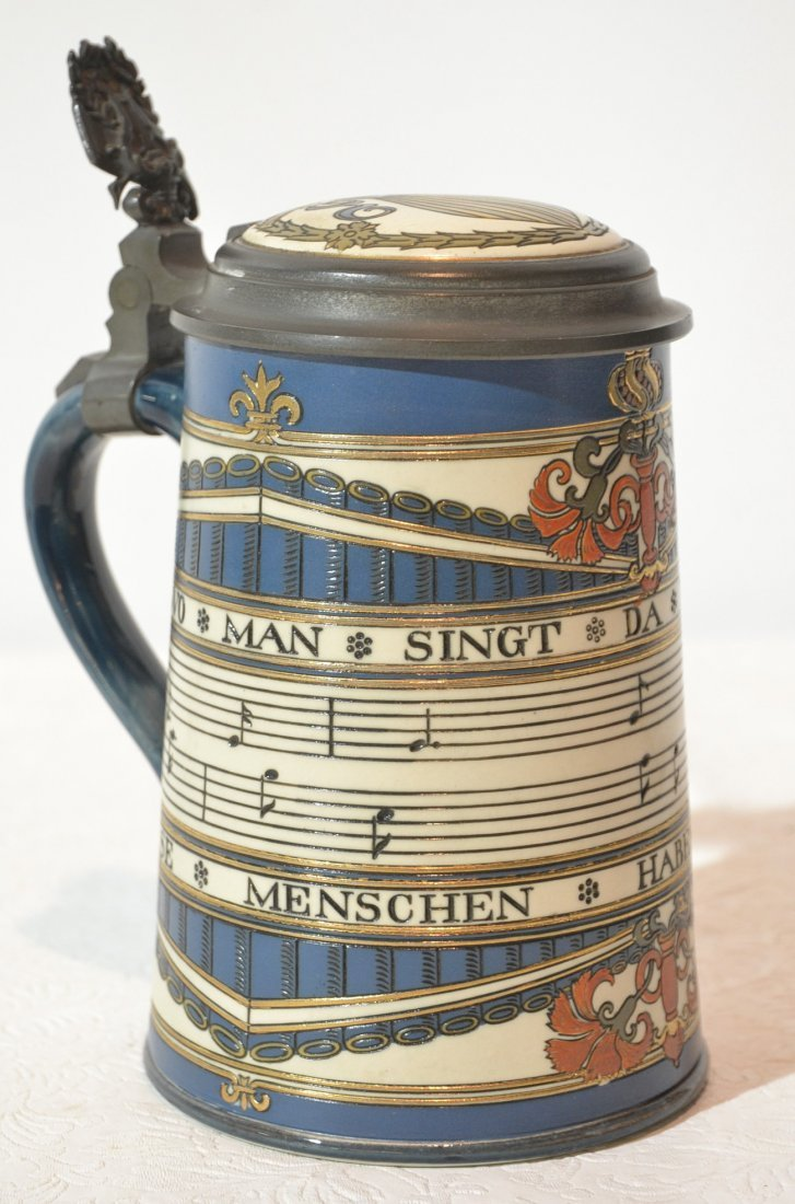 ETCHED METTLACH STEIN WITH INLAID GERMAN SHEET