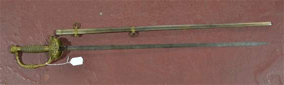 CIVIL WAR FIELD & STAFF SWORD WITH ETCHED BLADE