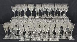 (76)pc HAWKES CUT GLASS STEMWARE WITH ETCHED