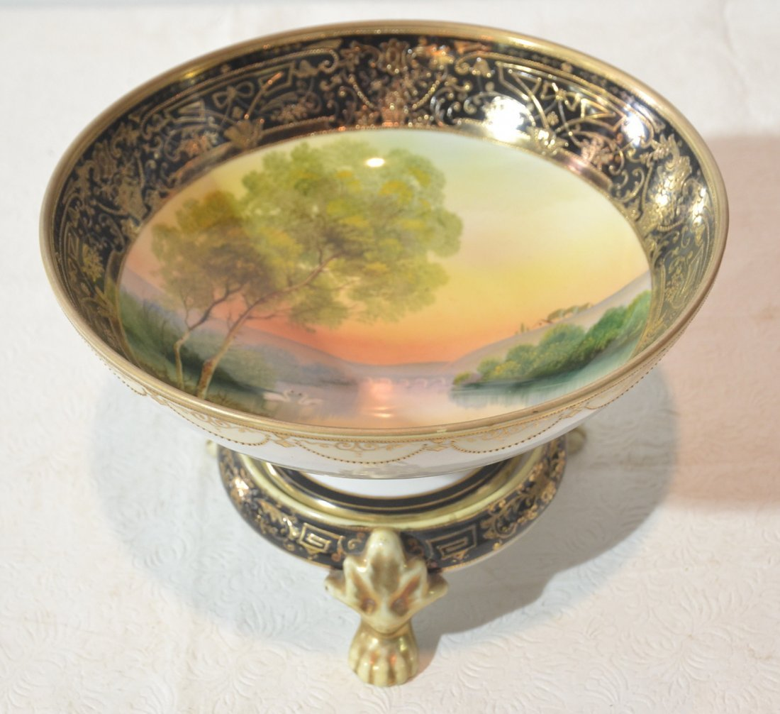 HAND PAINTED SCENIC NIPPON BOWL ON PAW FEET STAND