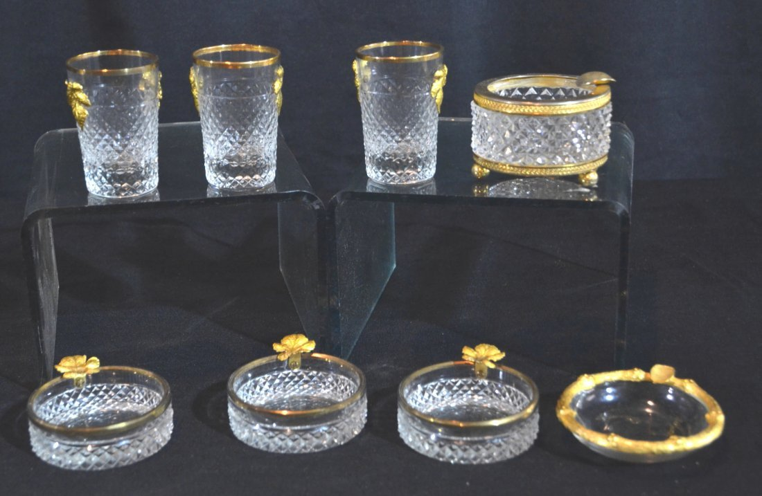 (3) CUT GLASS & FRENCH DORE BRONZE NUT DISHES ,