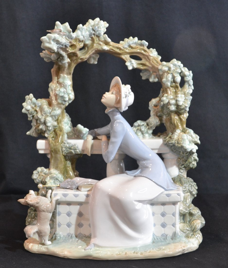 "LARGE LLADRO GIRL WITH BIRDS & DOG - 11 1/2"" x 14"""