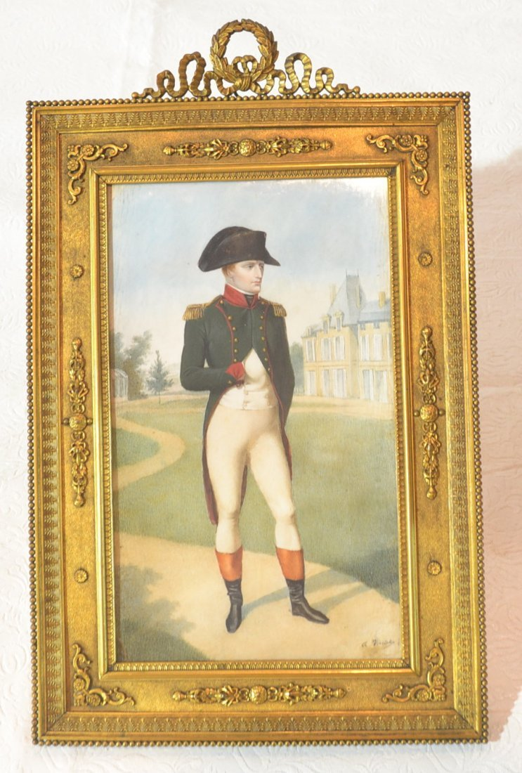 LARGE HAND PAINTED IVORY NAPOLEON POSING PLAQUE