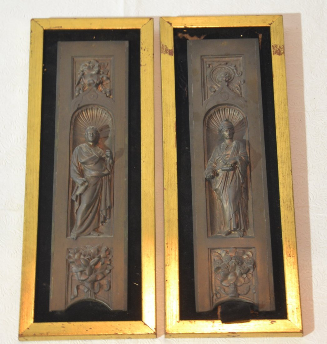 (Pr) FIGURAL BRONZE PLAQUES MOUNTED IN GILT FRAMES