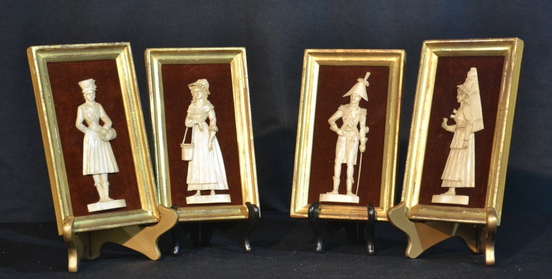(4) CARVED IVORY FIGURAL PLAQUES ; MARKED