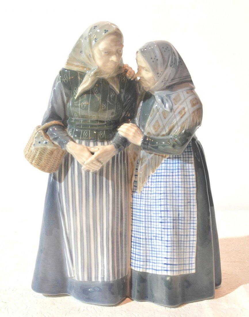 "LARGE COPENHAGEN FIGURE OF 2 OLD WOMEN - 11 1/2"""