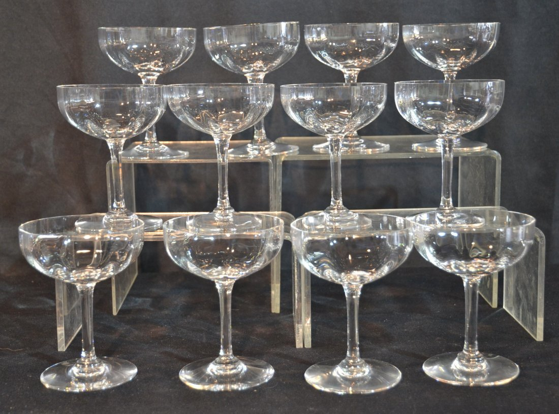 (12) BACCARAT CRYSTAL CHAMPAGNE GLASSES
