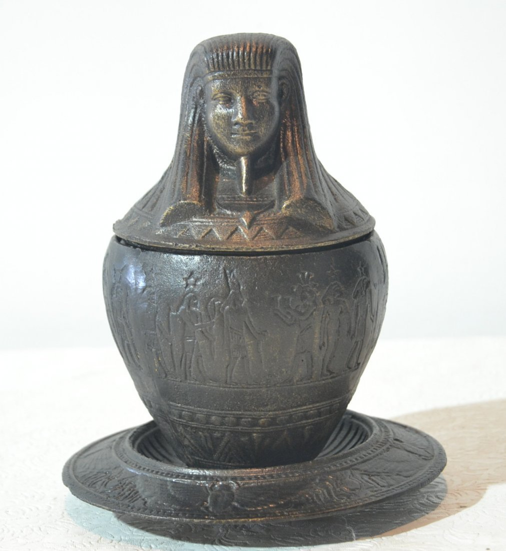 EGYPTIAN REVIVAL CAST IRON INKWELL WITH SPHINX LID