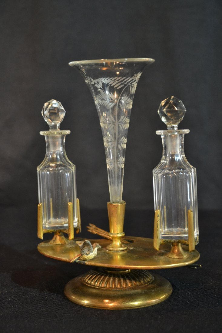 BRONZE EPERGNE & SCENT BOTTLE WITH COLD PAINTED