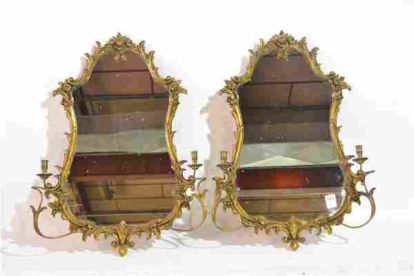 (Pr) ITALIAN CARVED GILTWOOD MIRRORS WITH SCONCES