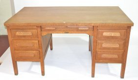 LARGE RUCKER - FULLER DESK Co. OAK DESK WITH