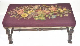 "MAHOGANY NEEDLEPOINT BENCH - 17"" X 36"" X 18"""