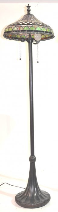 "LEADED GLASS FLOOR LAMP - 18"" X 62"" TALL"