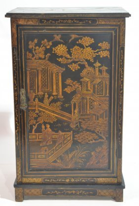 "ANTIQUE CHINOISERIE CABINET - 20"" X 13 1/2"" X 32"""