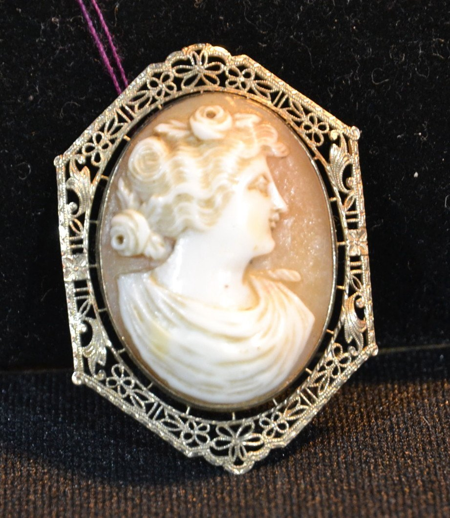 14kt WHITE GOLD VICTORIAN CAMEO