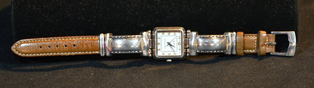STERLING SILVER ECLESSI WATCH WITH LEATHER BAND