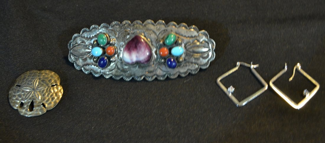 STERLING SILVER FRENCH BARRETTE WITH CORAL ,