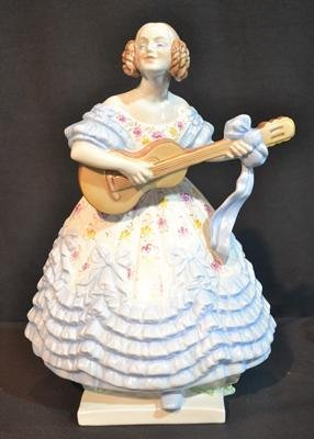 LARGE HEREND PORCELAIN GIRL WITH GUITAR