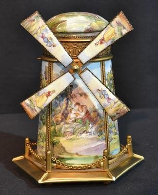VIENNESE ENAMEL WIND MILL FORM MUSIC BOX