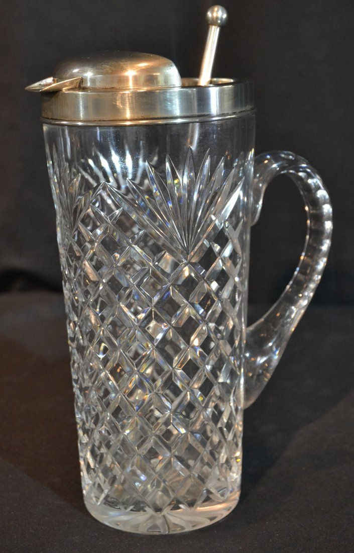HAWKES STERLING SILVER & CRYSTAL COCKTAIL SHAKER
