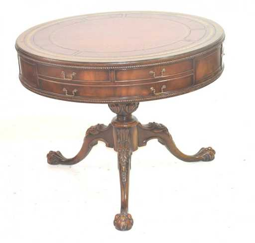 Chinese Drum Coffee Table: CARVED WEIMAN LEATHER TOP DRUM TABLE WITH