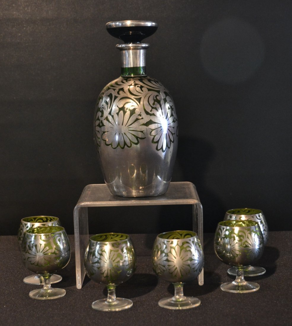 STERLING SILVER MOUNTED GREEN GLASS DECANTER SET
