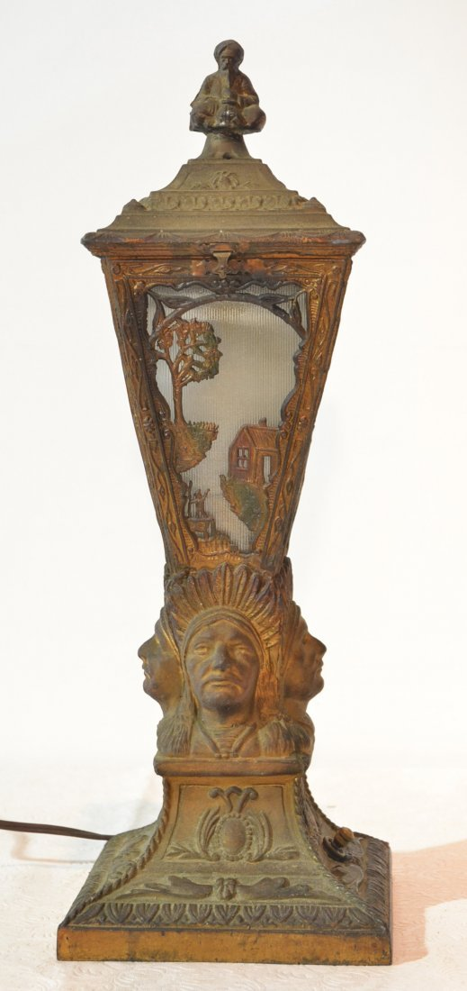 "4 FACE INDIAN LAMP WITH FIGURAL FINIAL - 17"" TALL"