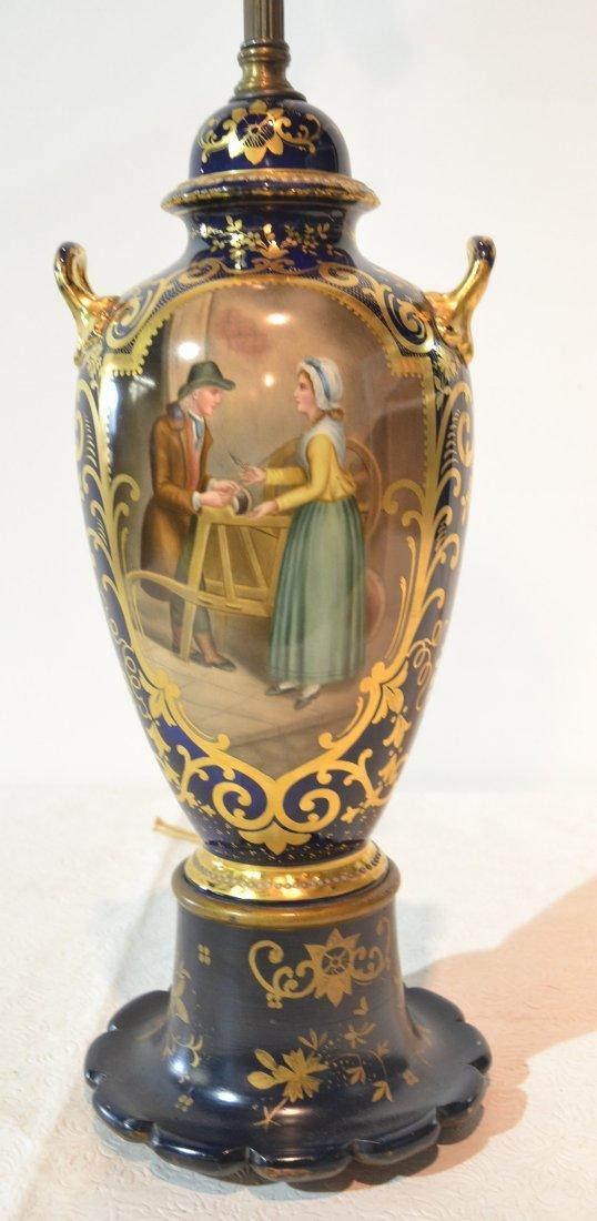 HAND PAINTED COBALT & GOLD PORCELAIN LAMP