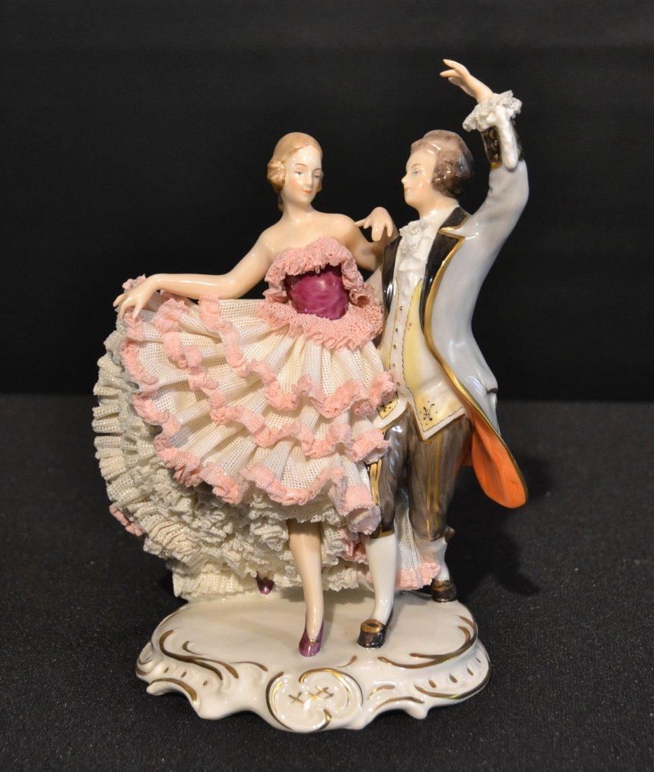 """DRESDEN DANCING COUPLE FIGURE - 8 1/4"""" TALL"""